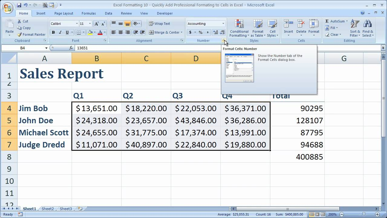 Excel Formatting Tip 10 – Quickly Add Professional Formatting to Spreadsheets and Cells in Excel