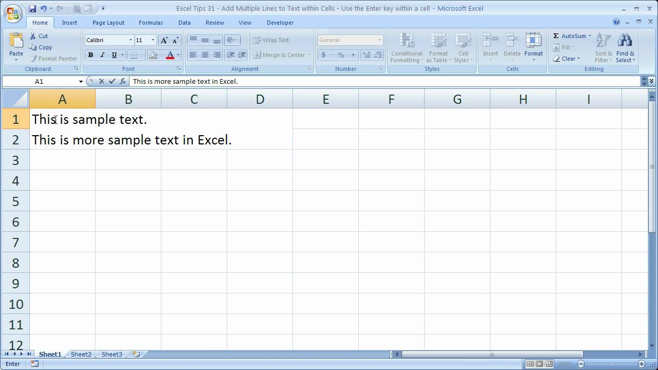 Excel Tips 31 – Add Multiple Lines to Text within Cells – Use the Enter key within a cell