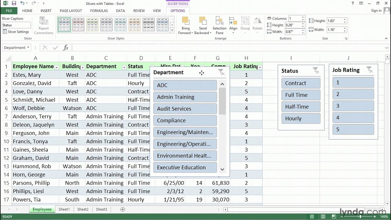 Using slicers with table data for richer filtering tools | Excel tips | lynda.com