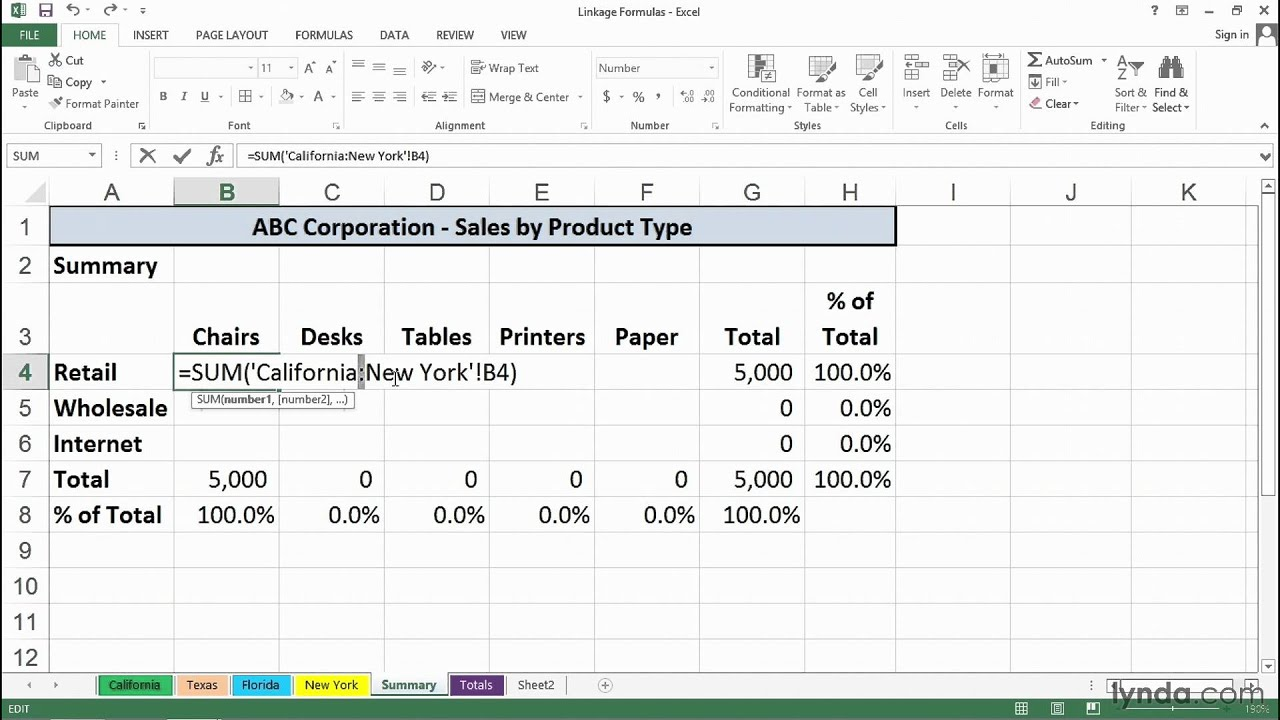 Calculating values across worksheets with formulas | Excel Tips | lynda.com