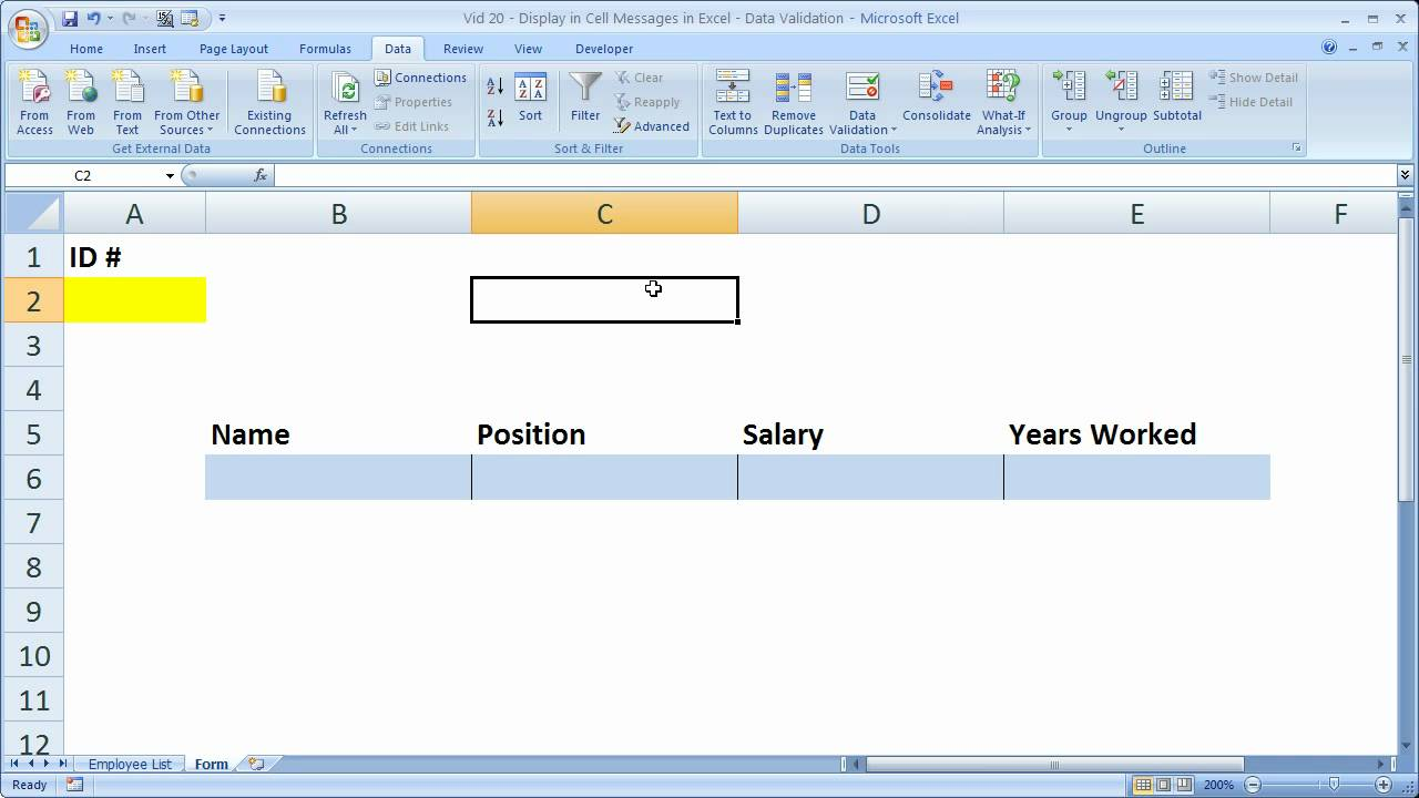 Excel Tips 20 – Display In Cell Message when a Cell is Selected in Excel Not a Comment
