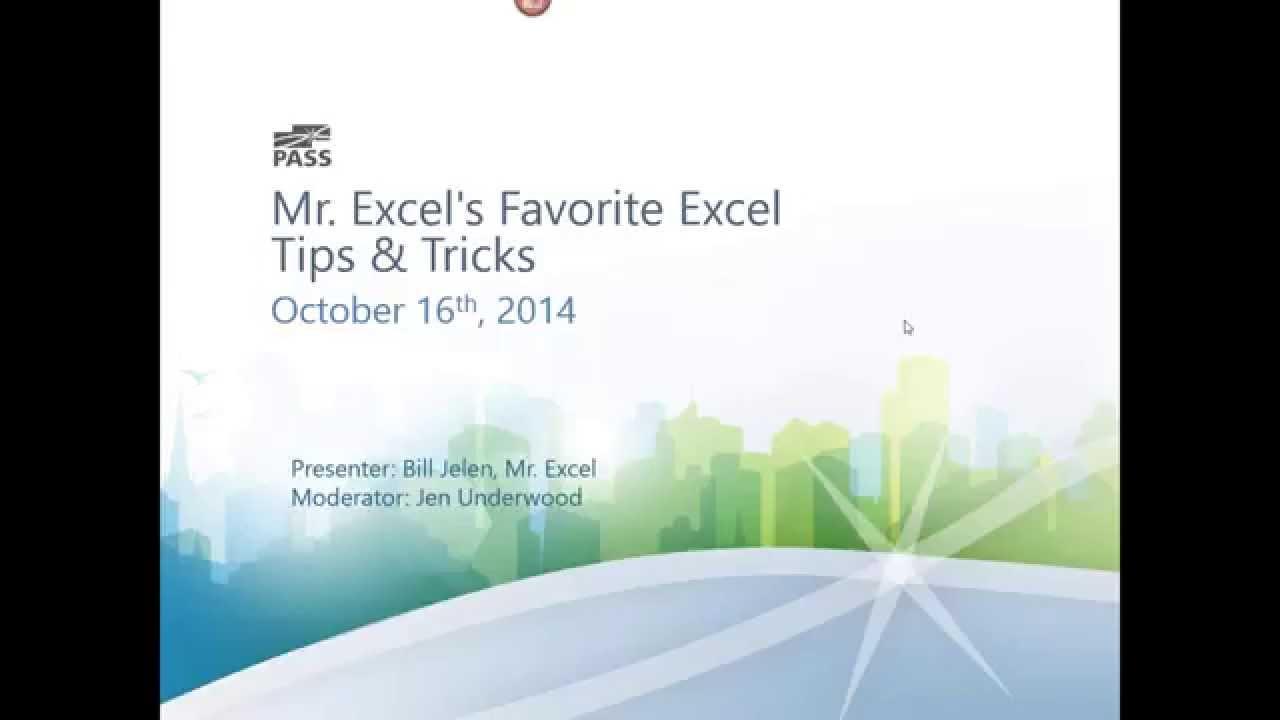 MrExcel's Favorite Excel Tips and Tricks