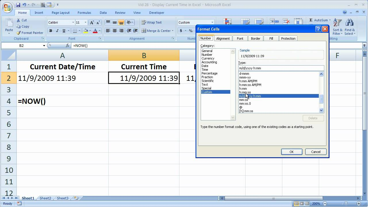 Excel Tips 28 – Display The Current Time in Excel Down to the Second