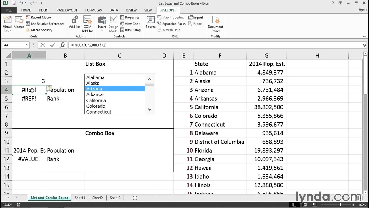 Using list and combo boxes to create forms | Excel Tips | lynda.com