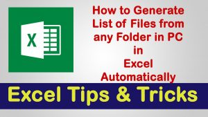 Generating File List in Excel from Folder | Excel Tips & Tricks