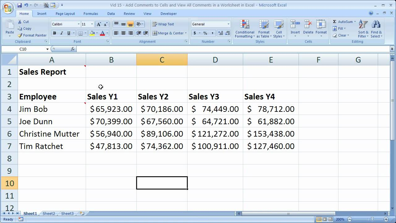 Excel Tips 15 – Add Comments, Remove Comments, Find Comments, and Edit Comments in Excel 2007