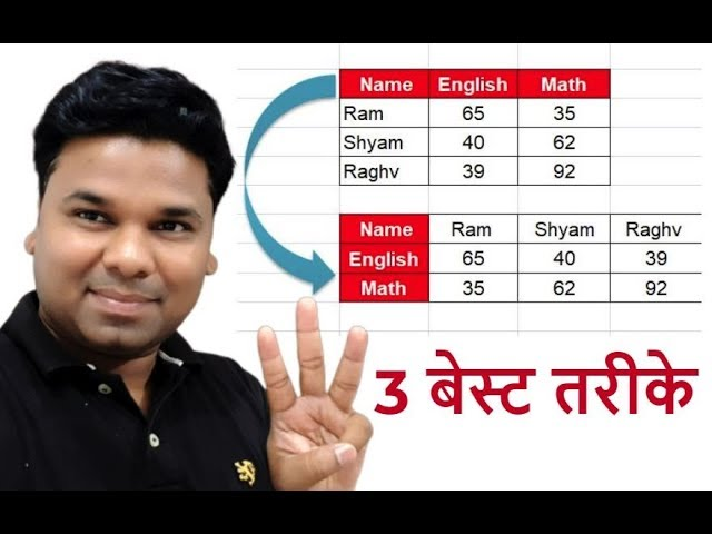 3 Best Way To Convert Rows to Columns with Transpose in Excel – Every Excel User should know Hindi