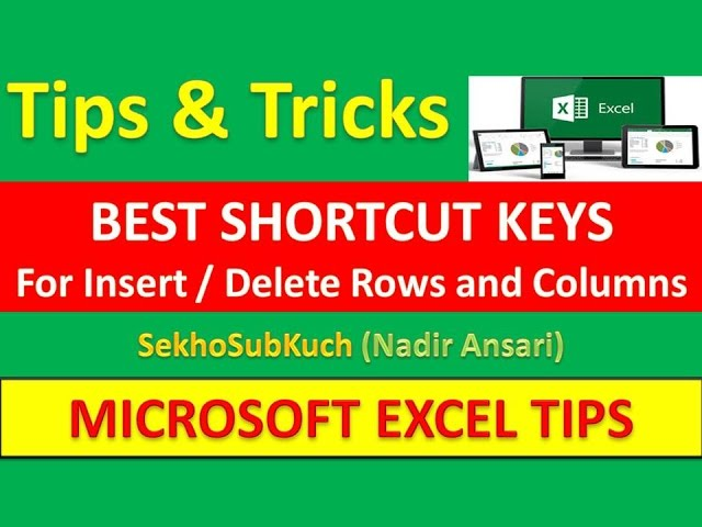Best Shortcut Keys For Insert / Delete Rows and Columns in Excel  (Tips and Tricks) [Urdu / Hindi]