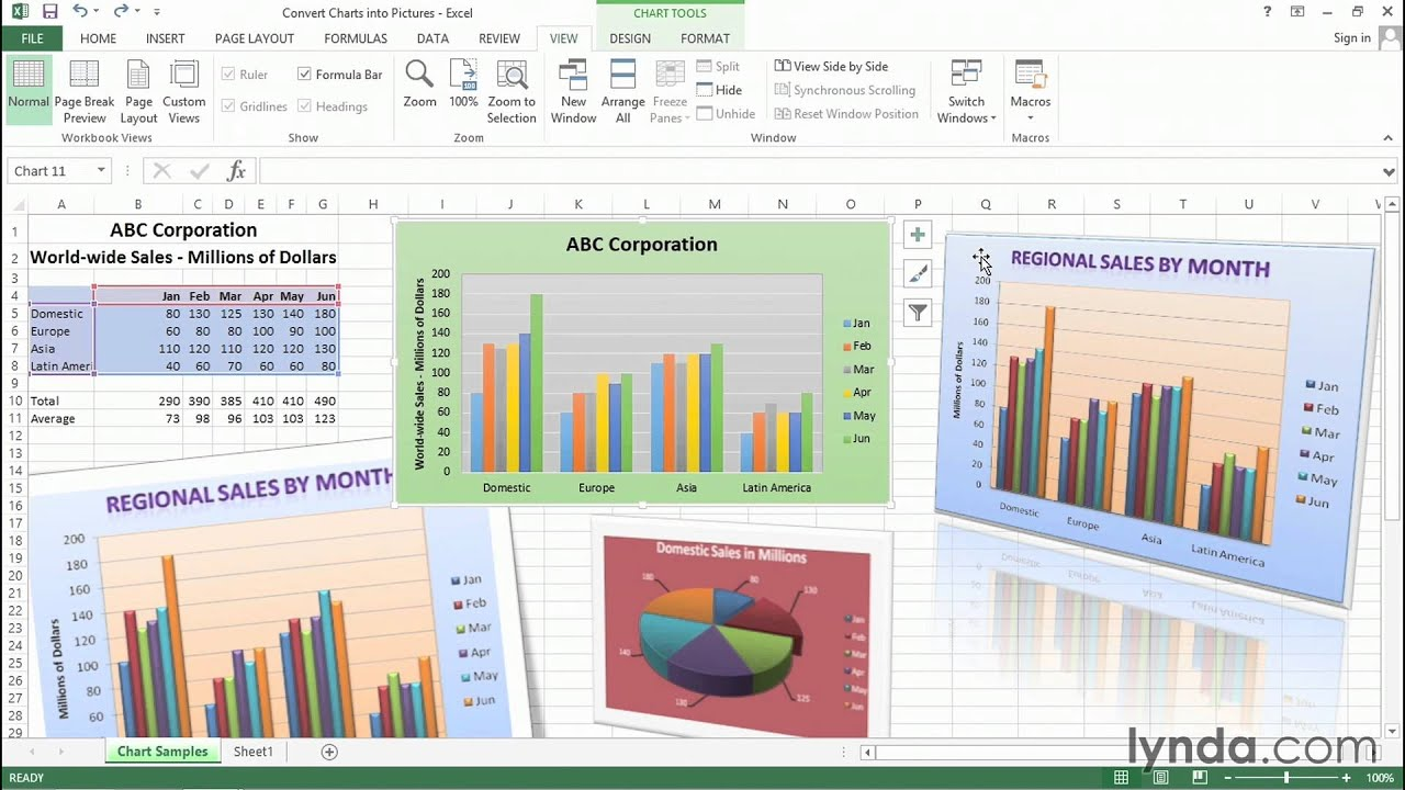 Converting charts into pictures for publication and display uses | Excel tips | lynda.com