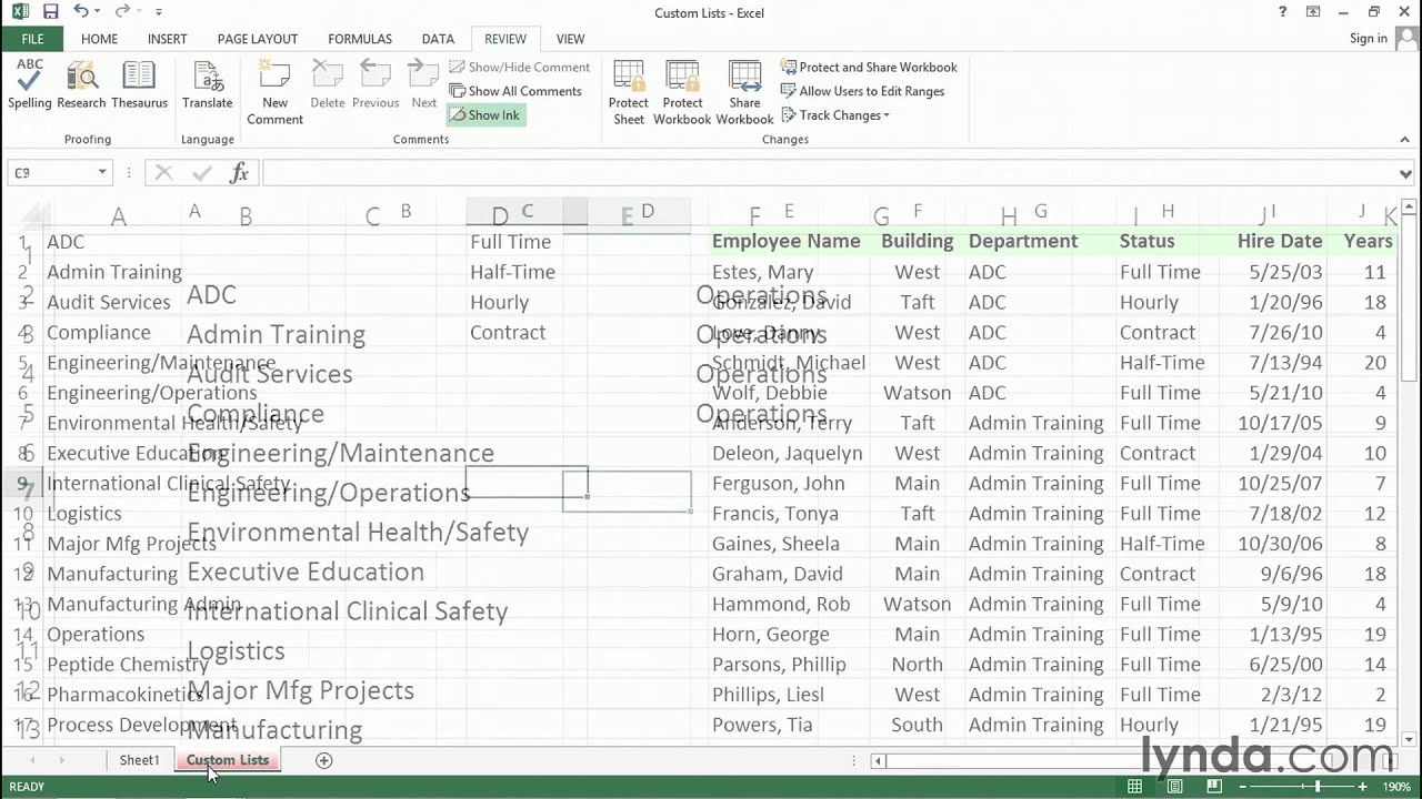 Increase productivity with custom lists | Excel tips | lynda.com