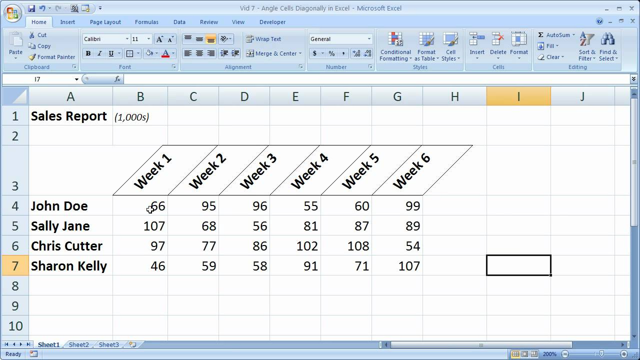 Excel Formatting Tip 7 – Angle Cells Diagonally in Excel Make Better Looking Reports and Tables