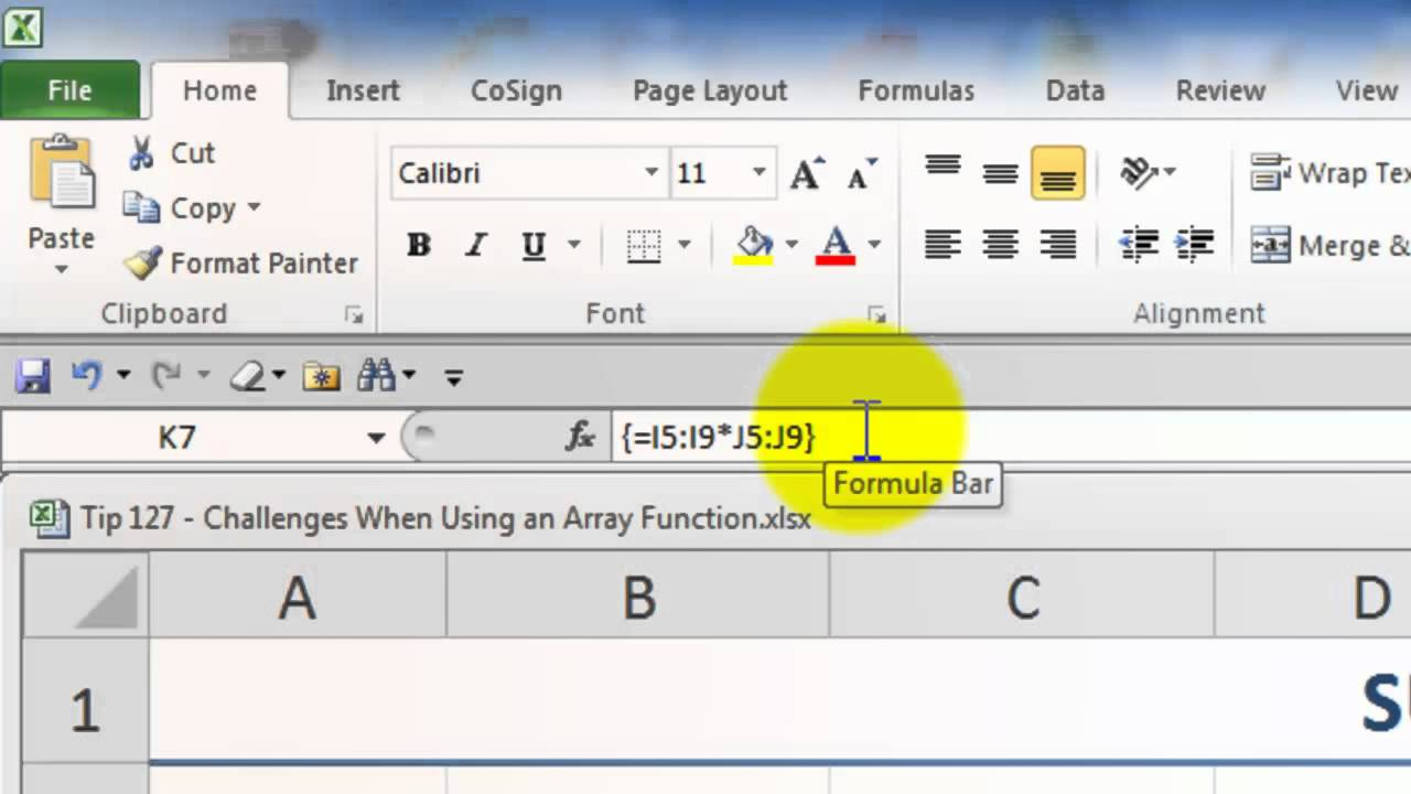 Tips for Using ARRAY Formulas and Functions in Excel