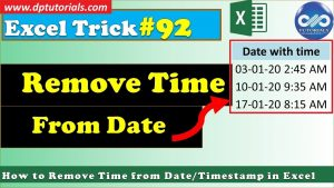 How to Remove Time from Date Timestamp In Excel || Excel Tips & Tricks || dptutorials