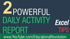 2 Excel tips for daily activity Report Writing ~ Latest Excel 2020