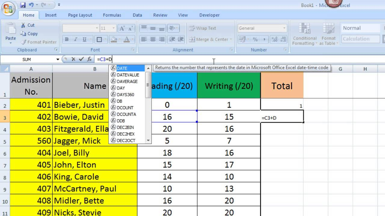 Excel Tips for Teachers Episode 2: Using Basic Formulae