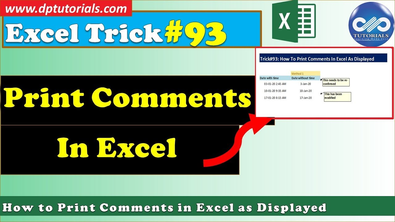 How To Print Comments In Excel As Displayed || Excel Tips & Tricks || dptutorials
