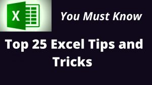Top 25 Excel Tips and Tricks 2020 in English   Excel User Should Know   Best Tips & Tricks