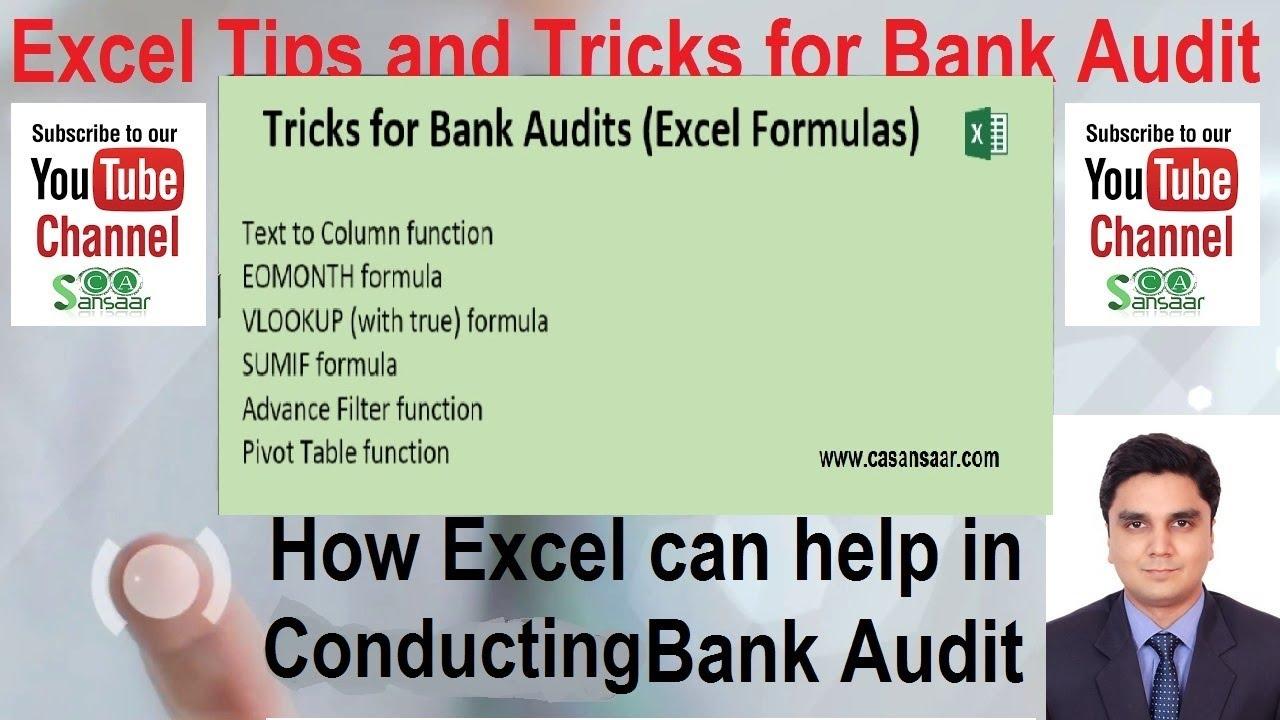 Excel Tips and Tricks for Bank Audit | Bank Branch Audit | Bank Audit