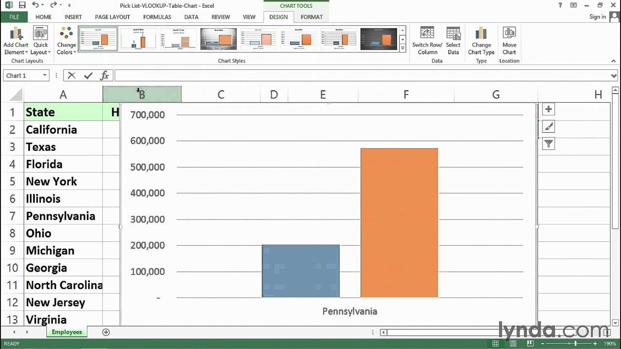 Using pick list, VLOOKUP, tables, and charts together | Excel Tips | lynda.com