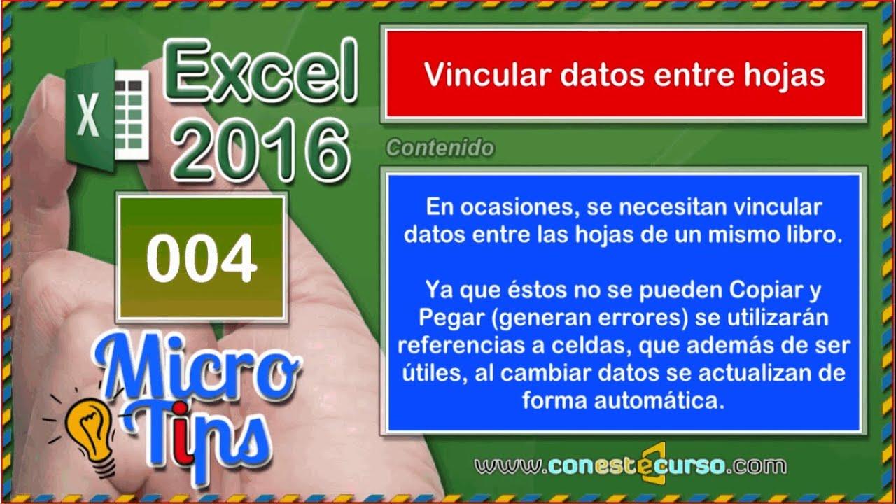 Excel Tips-004-Vincular datos entre hojas
