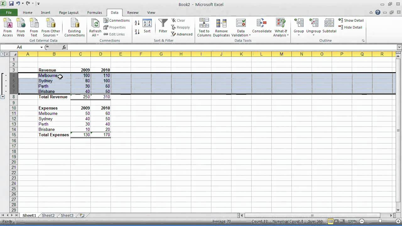Excel Tips – Tip#24: Group and outline data