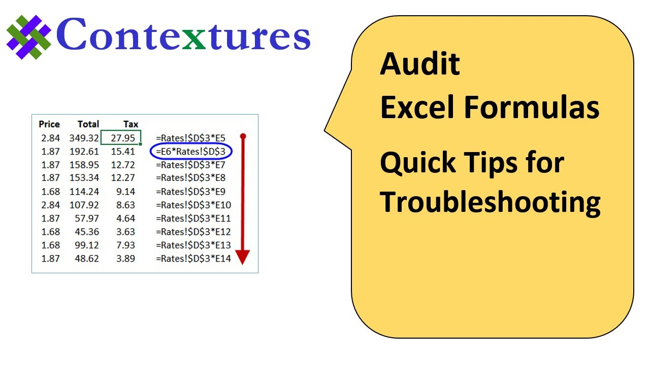Auditing Excel Formulas – Quick Tips
