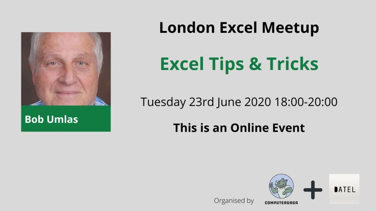 Excel Tips & Tricks from the Maestro – 23rd June 2020