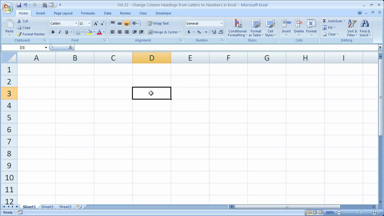 Excel Tips 23 – Change Column Headings from Letters to Numbers in Excel for Quick Referencing