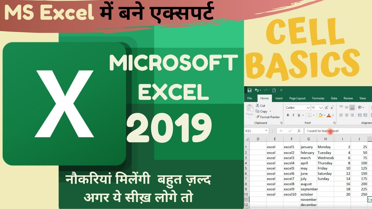 Microsoft excel Tutorial | Cell Basics | Excel shortcuts | Types of cursor | Excel tips and tricks