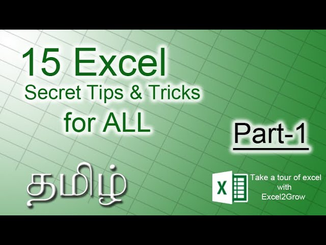 15 Ultimate Excel Tips and Tricks #Part-1 for 2020 in Tamil  | Excel2Grow