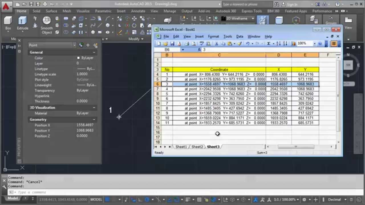 Import XY Coordinate From AutoCAD Into Excel | Tips