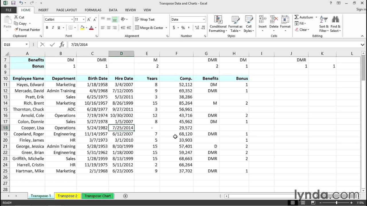 Transposing data and charts | Excel Tips | lynda.com