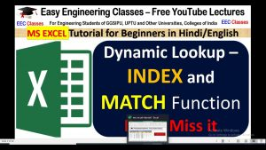Dynamic Lookup – INDEX and MATCH Function in VLOOKUP | Excel Tips Tutorials Tricks in Hindi