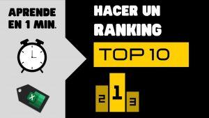 Tip 1 min – Hacer un RANKING o TOP 10 en EXCEL #shorts.