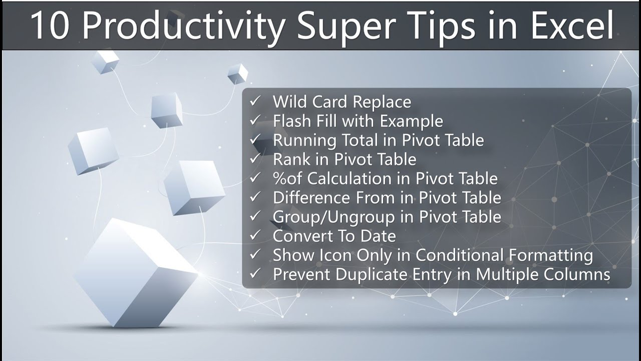 10 Super useful Productivity Tips in Excel