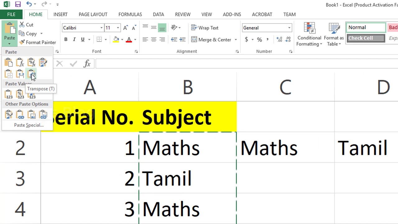 MS Excel Tips : How to Copy Vertical and Paste Horizontal in Microsoft Excel? Transpose