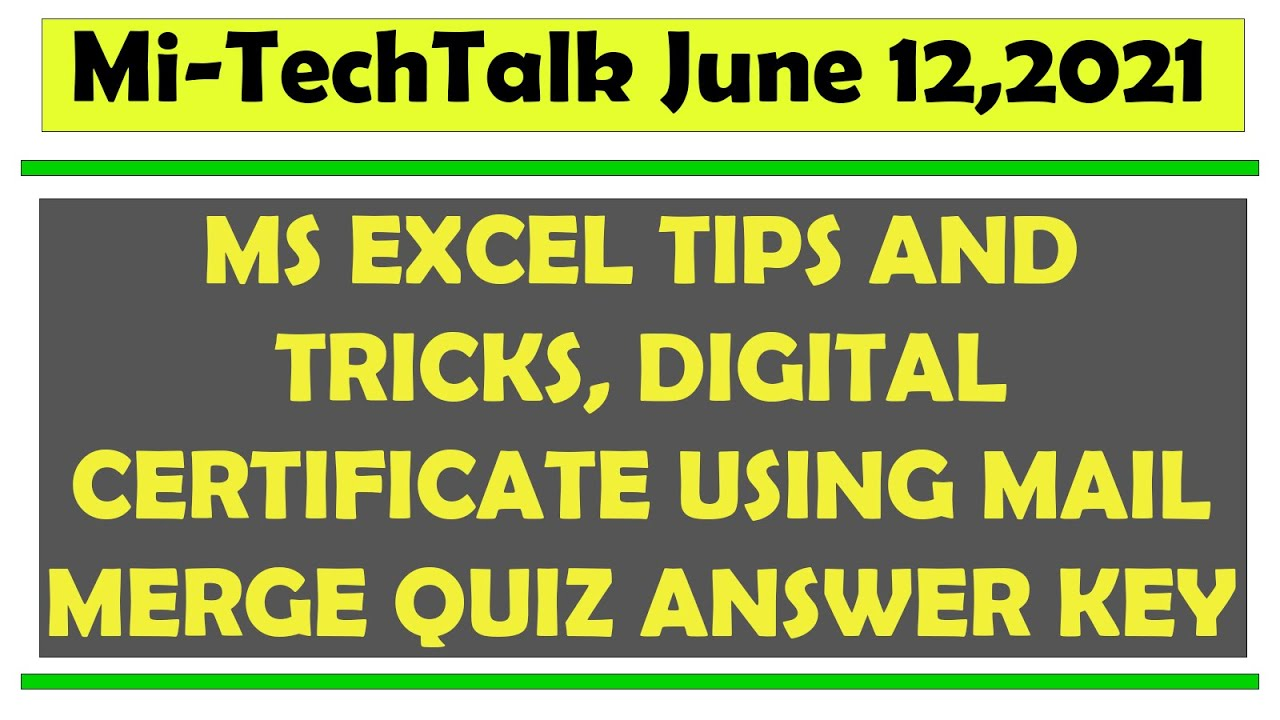 MS EXCEL TIPS AND TRICKS, DIGITAL CERTIFICATE USING MAIL MERGE QUIZ ANSWER KEY  | DepEd Free Webinar