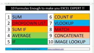 10 Most Important Excel Formula Can Make YOU Excel Expert URDU.HINDI