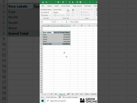 MS Excel Tricks & Tips 2021 – How to Create Pivot Table in Excel  (Video 47), #Shorts