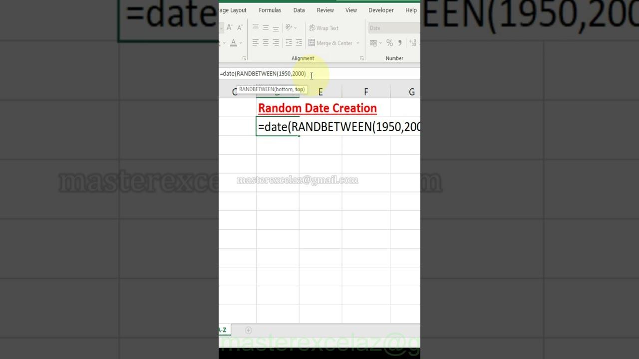 Random Date | Excel tips & tricks | #Shorts